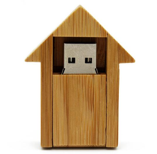 Bamboo Wooden House Shaped USB Flash Drive
